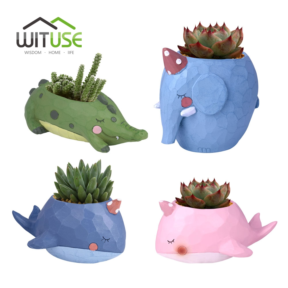 WITUSE Kawaii Animal Maceta Creativa Bonsai Maceta Maceta Dibujos - Productos de jardín