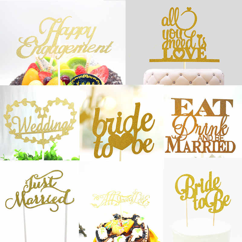Glitter Bride to be Love Heart Wedding Cake Topper Mr Mrs Souvenirs Birthday Party Decoration Wrapper Baby Shower Centerpieces