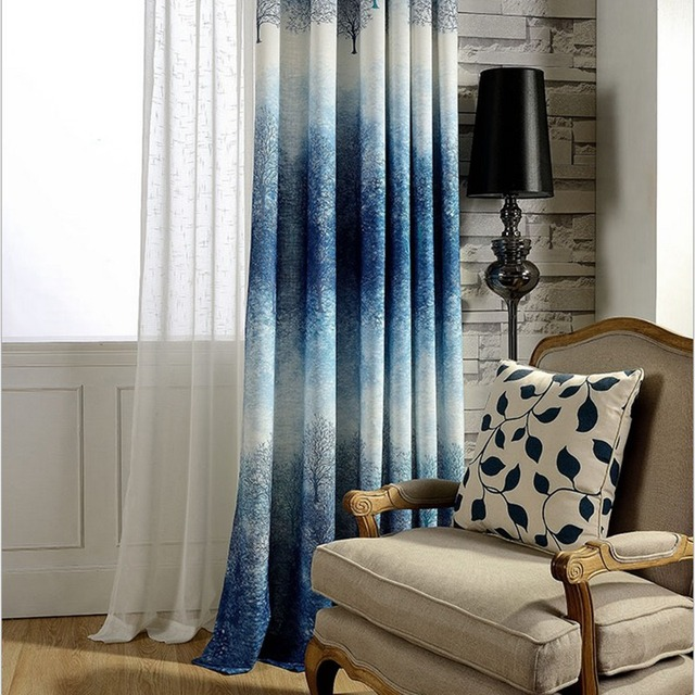 Purple Blue Blackout Curtains Living Room Bedroom Balcony Window Drop Shade  Tree Printed Drapes Hot Sale