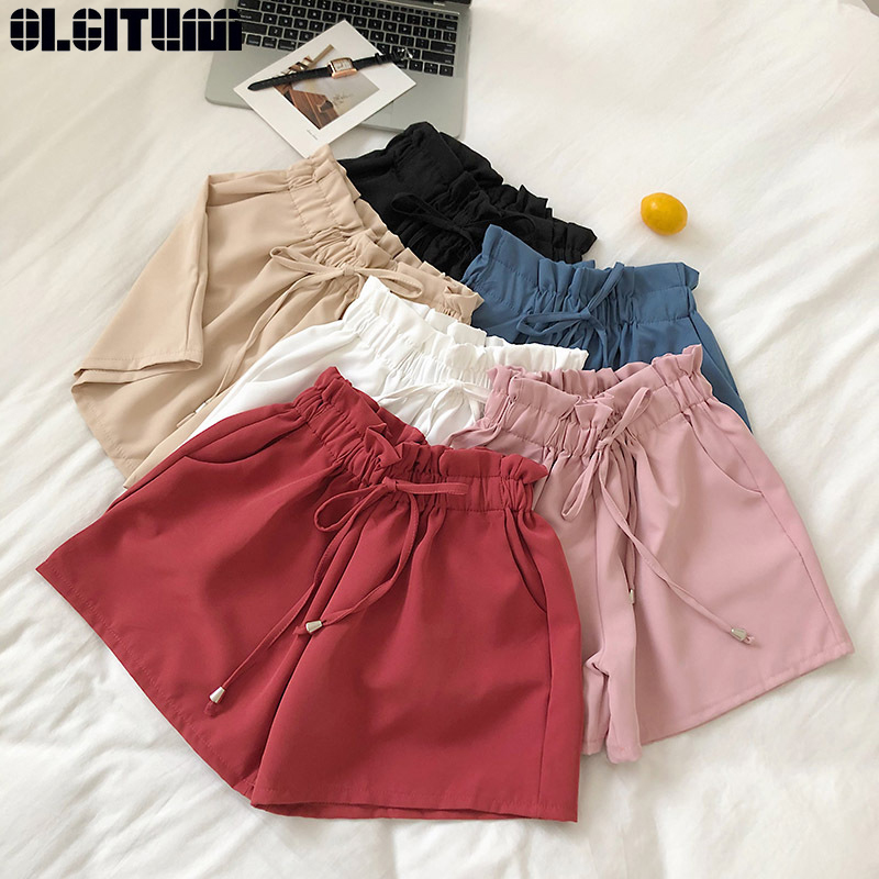 New Summer 2019 Women Korean Solid Wild Elastic Waist Strap High Waist Loose Flower Wide-leg   Shorts   Casual PT292
