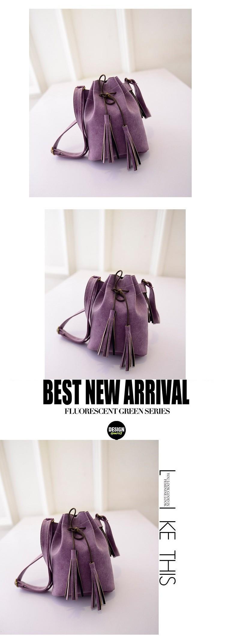 Vintage Bucket Women Shoulder bags Fashion Tassel bags Small Women messenger bags Spring Handbags Tote bolsas femininas BH237 (2)