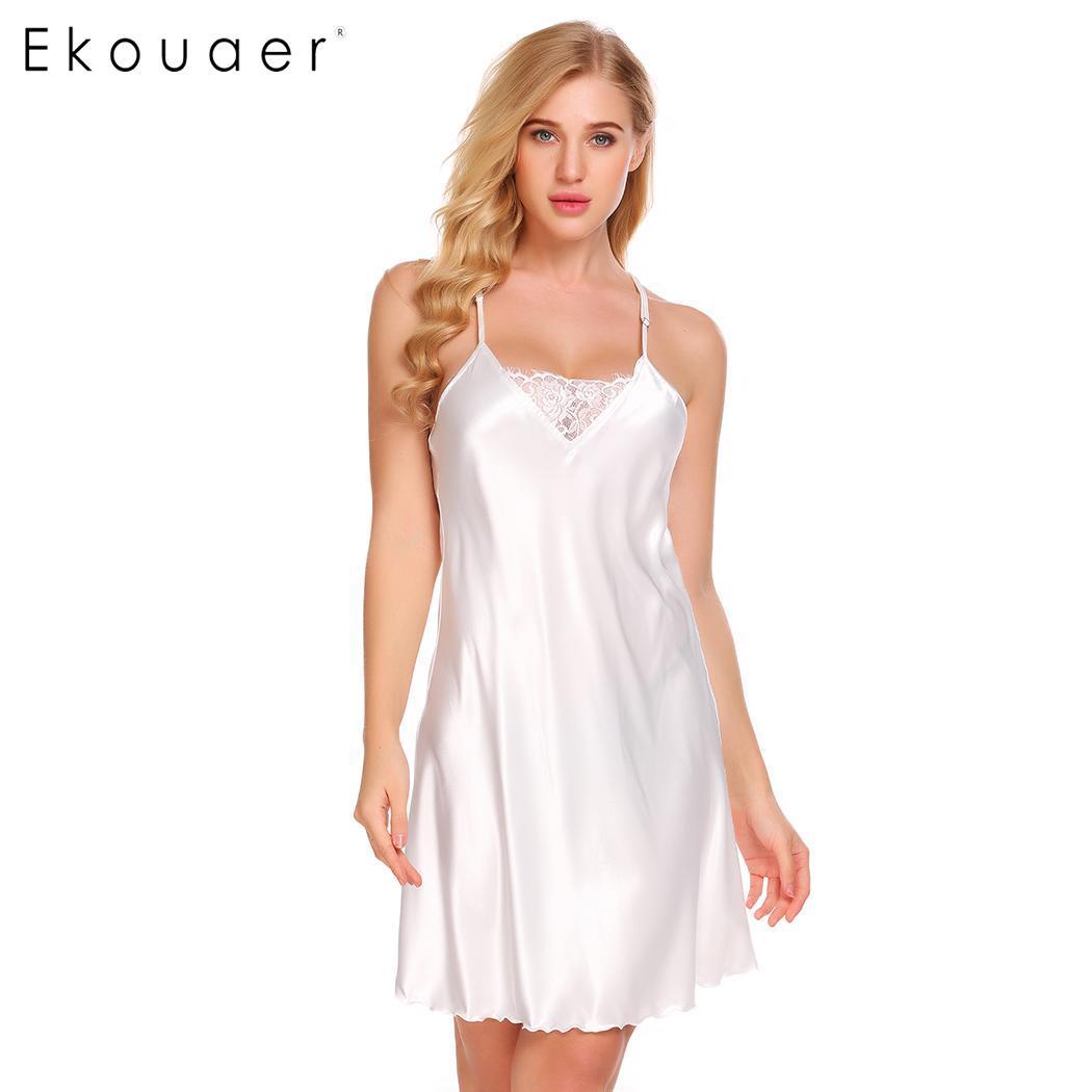 dd8181baa4 Detail Feedback Questions about Ekouaer Nightgown Women Sexy Satin Chemise Sleepwear  V Neck Lace Patchwork Slip Nightdress Female Lingerie Dress Sleepshirts ...