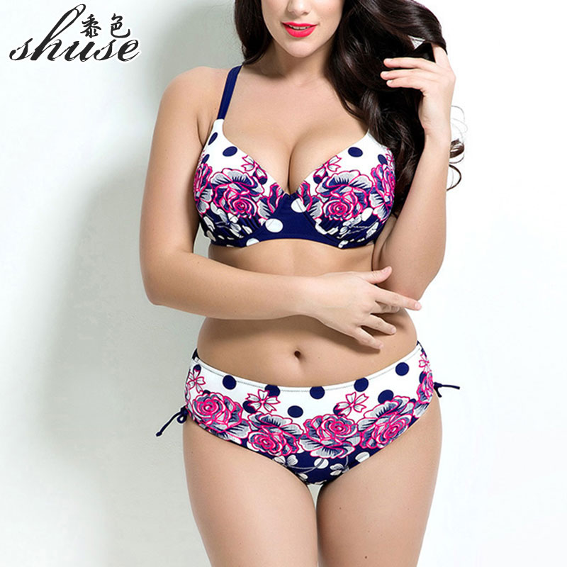 Sexy 2017 New Arrival Plus Size Swimsuit Push Up Swimwear Beach Wear Set Women Swimsuit Polka Dot Swimsuit Plus Size Swim1687