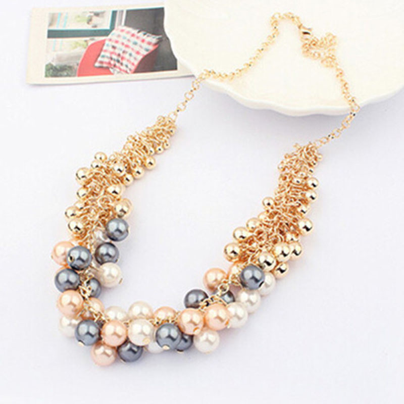 2016 Aliexpress Pearl Necklace Korean Version Of The Retro Palace Beauty Statement Collier Gold Pated Cheap Necklace for women