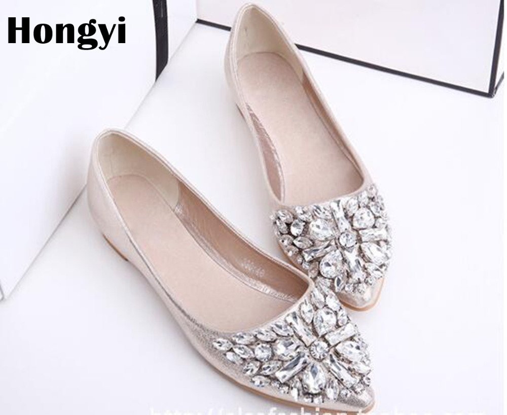 Hongyi New Cheap Price Pu leather pointed toe Rhinestone shoes women comfortable Crystal flats Loafers Daily  Casual Shoes women ladies flats vintage pu leather loafers pointed toe silver metal design