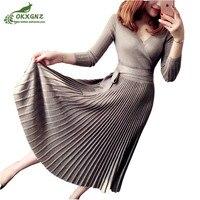 Autumn spring new V neck bright silk dress women sexy high waist knit dress women High end lace Slim dress clothes OKXGNZ AF423