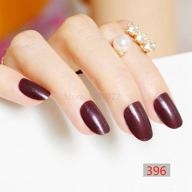 2018 24pcs hot sell fashion candy oval circle decorative fake nails ...