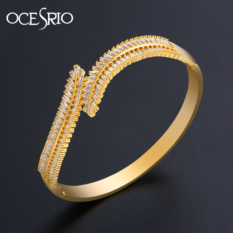 OCESRIO Crystal Ear of Wheat Gold Bracelets for Women Cubic Zirconia Designer Bracelets Bangle 2019 women Luxury Jewelry brt-b22