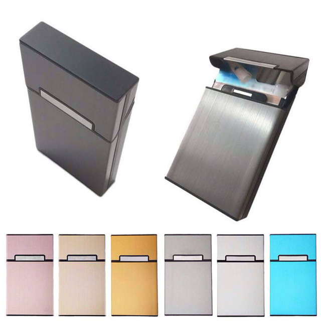 Woman Ladies Pocket Cigarettes Case Holder Portable Aluminum Alloy Smoking Box Gift HG99