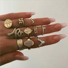 Женское Обручальное кольцо из 10 предметов, кольцо в виде змеи, статуя Будды в стиле панк, богемное кольцо с натуральным камнем