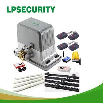 цена на LPSECURITY 1800kg 4 keyfobs sliding gate opener motor with 4m/5m rack with 1push button 1alarm lamp 1sensor GSM opener optional