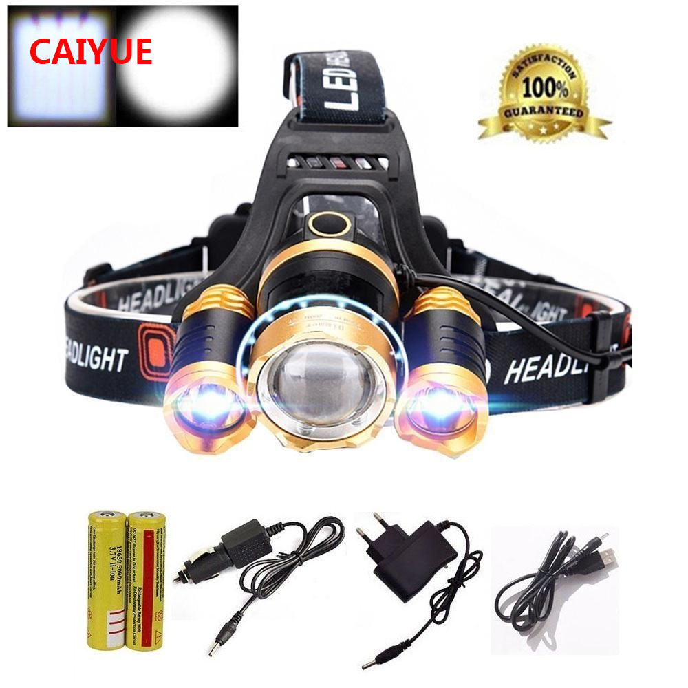 LED focusable Headlights Headlamp 10000Lm CREE XML T6 LED Head Lamp light 4-mode torch Camping + battery + AC Car USB charger ultrafire u 100 4 led 4 mode 2400lm white bike light headlamp black deep pink