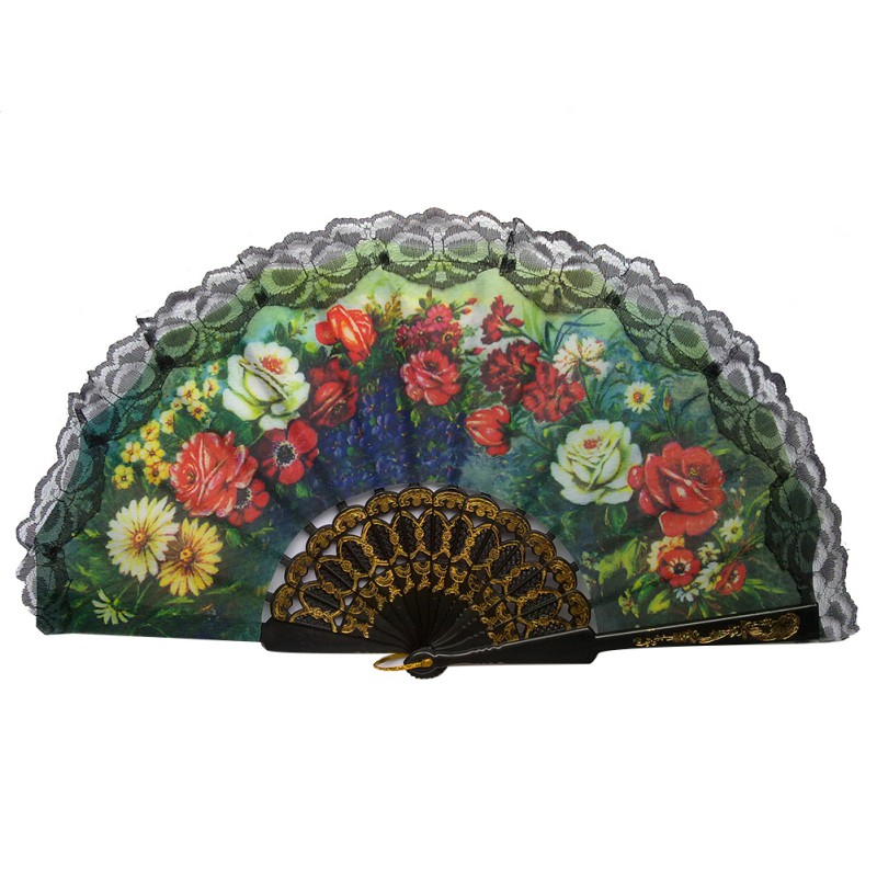 >Lace Edge Multi-Colors <font><b>Spanish</b></font> <font><b>Style</b></font> Hand Held Fabric Fans Floral Print Fan