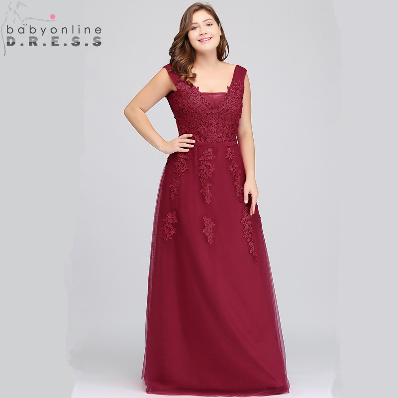 Sexy Deep V Back Burgundy Plus Size Lace Prom Dresses A Line Appliques Chiffon Prom Gown