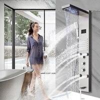 Золотой душ Панель свет Ванная комната Ванна Душ столбца башня цифровой Экран водопад, тропический душ смесители повернуть гидромассажем