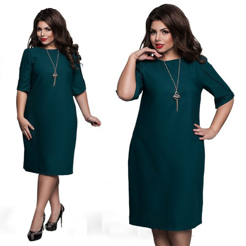 1e5909ad6b5 6XL Large Size 2017 Summer Dress Big Size Casual Office Dress Blue Red  Green Straight Dresses Plus Size Women Clothing Vestidos-in Dresses from  Women s ...