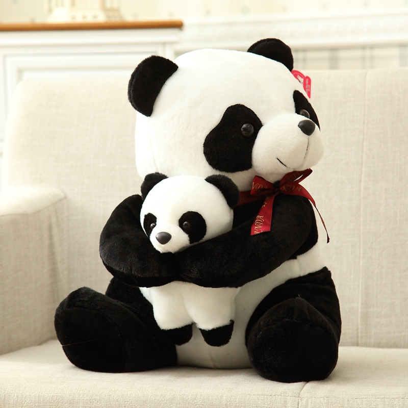 25-50cm Big Size Lovely Father Son Panda Plush Toy Kids Soft Charms Stuffed Animal Pillow Plush Doll Toys With Red Bow Plush Toy