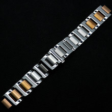 High Quality 9mm/10mm/11mm Watch Strap Solid Stainless Steel Silver&Rose Golden Deployment Buckle for Cartier Wristwatch