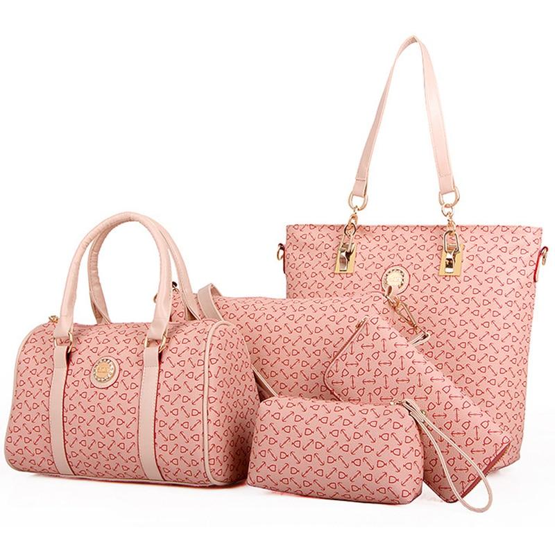 women handbags leather bag 5 sets composite bag totes handbags and purses clutch bone pattern shoulder crossbody bags for women