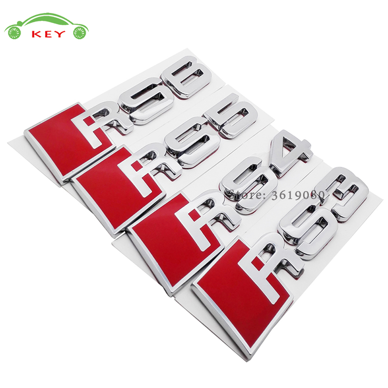 Car Styling for Audi Accessories Auto Decor Decal Emblem Badge for RS3 RS4 RS5 RS6 Logo Sticker for Audi quattro s1 A6 A8 r8