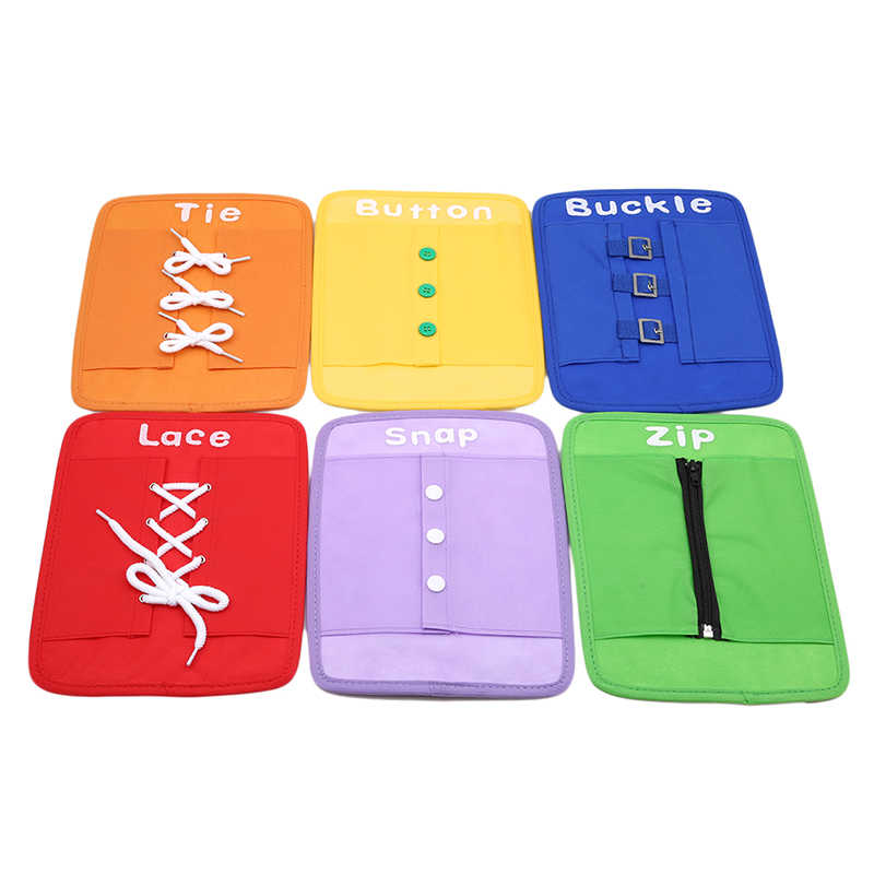 Colorful Baby Early Learning Kits Basic Life Skills Toys Learn To Dress Boards Button Buckle Lace Tie Montessori Child Gifts