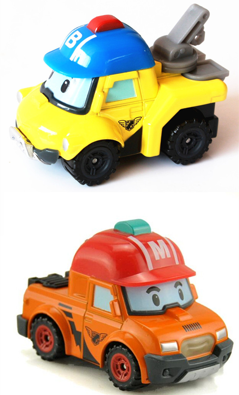 2Pcs/Set Metal Model Anime Figure Robot Car Toys Robocar Poli Bucky Mark Kids Toys For Children Gifts the rise of tomb raider laurahand model children model toys robot children gifts christmas gifts