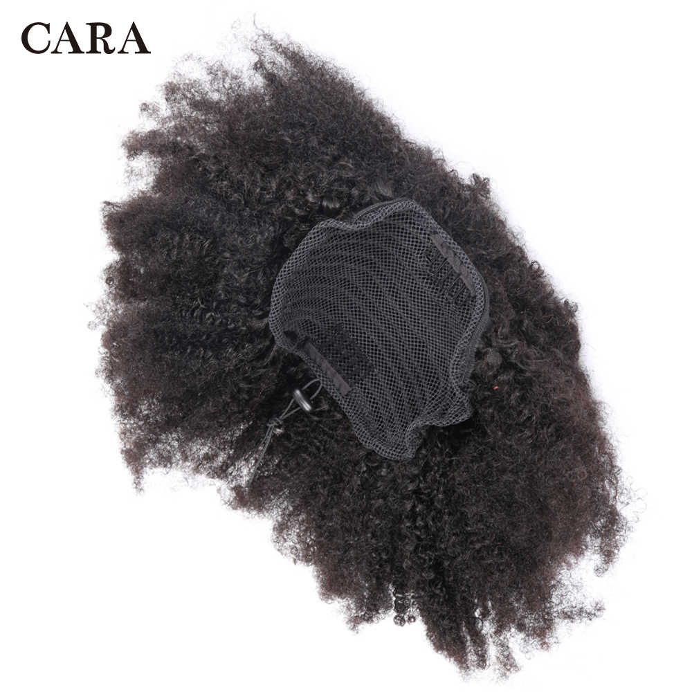Extensiones de coletas con cordón Pelo Rizado Afro mongol 4B 4C Clip en extensiones de cabello humano Cola de Caballo Remy CARA de cabello