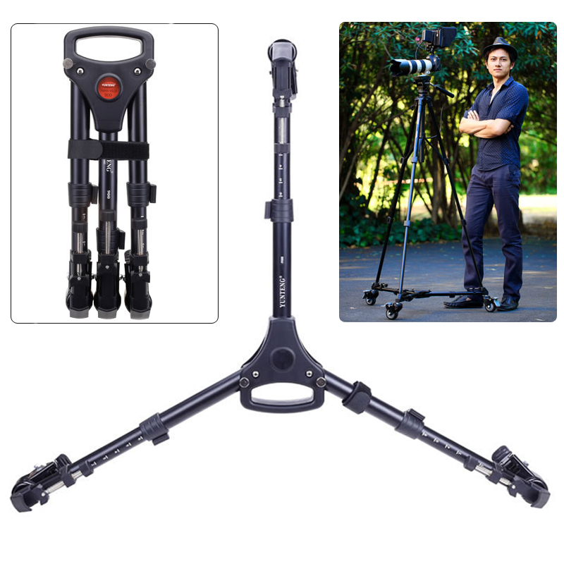 Yunteng 900 Professional Photo Aluminum 3 Wheels Pulley Universal Folding Foldable DSLR Camera Tripod Dolly Base Stand hot sale yt 900 professional foldable tripod dolly for photo video yt 900lighting lockable 3 wheels yunteng 900