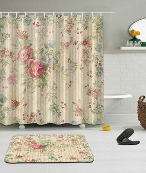 Wysokiej jakości różne niestandardowe wodoodporna łazienka piękny kwiat wzór zasłona prysznicowa tkanina poliestrowa łazienka kurtyna tanie i dobre opinie Ekologiczne Zaopatrzony Poliester Nowa klasyczna po nowoczesne PLANT Bathroom Curtain NYYBXFKDD