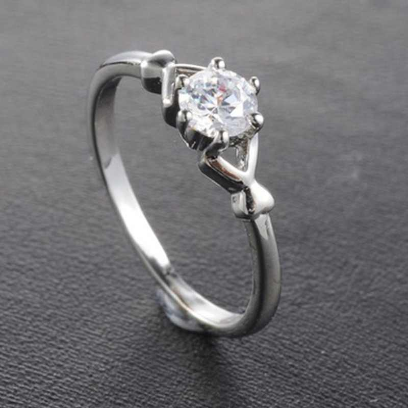 2019 New Large Simulated Crystal Rings Women Sliver Color Engagement Alliance USA Size