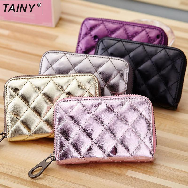 TAINY 2017 New Tainy Genuine Leather Cow Leather Women Lady Plaid Mini Wallets Short Wallets Card