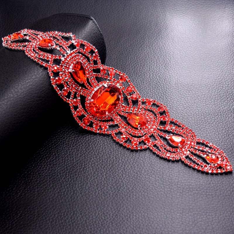Nähen auf Kristallglas Strass Patches Gürtel Red Stone Trimmen Strass Brautkleid Handband Schärpe Applique HD-887