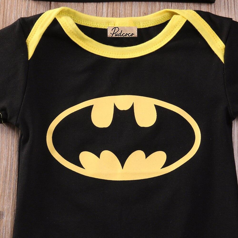 Newborn Toddler Boy Clothes Baby Infant Batman Romper Jumpsuit Hat Shoes 3Pc Set