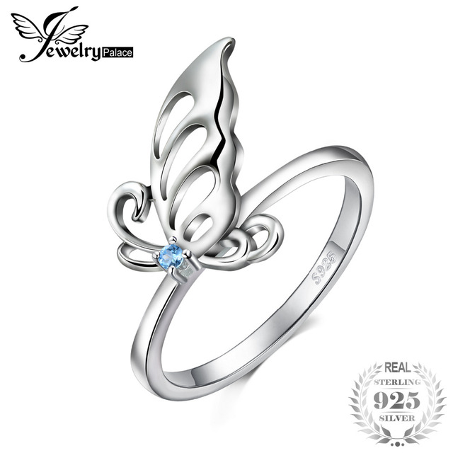 JewelryPalace Butterfly Created Light Blue Spinel Statement Ring 925 Sterling Si