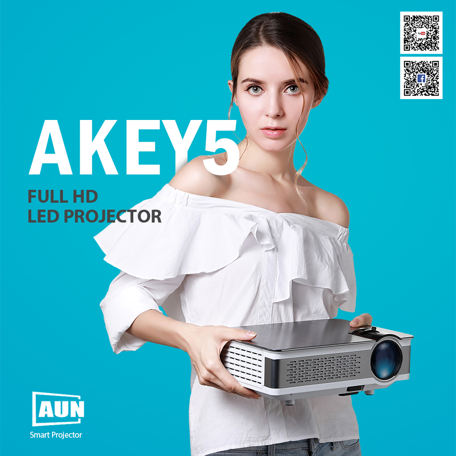 AUN Full HD Projector. AKEY5 UP. 1920*1080P, 3,800 Lumens, Android Beamer with WIFI, Bluetooth, LED TV. Optional AKEY5 IMP-5803 1