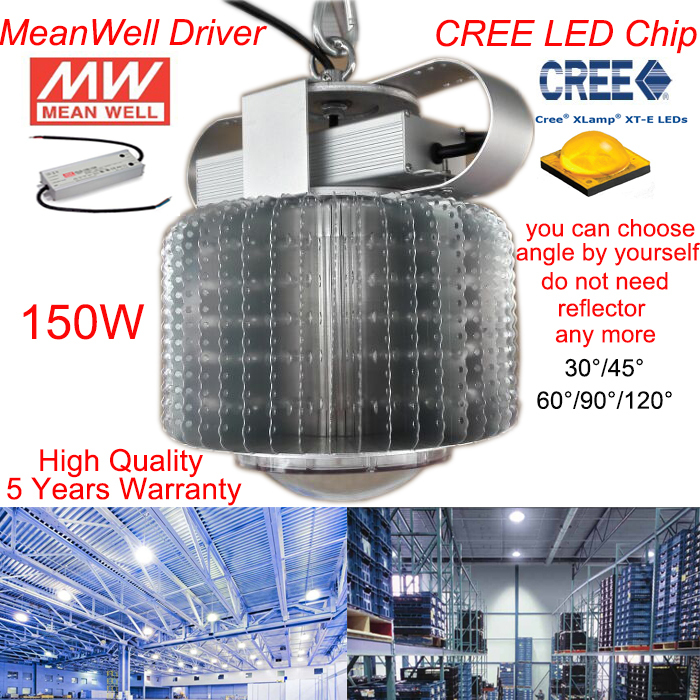 CREE LED high bay industrial light MeanWell Driver 150w led high bay light /AC85-265V 5 Years Warranty Free Shipping free shipping high quality 30w cree cob chip led down light embedded led trunk lamps lighting with led driver ac85 265v