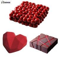 SHENHONG Pop 3PCS SET Cherry Diamond Heart 3D Cake Mold Art Silicone Mousse Silikonowe Formy Moule