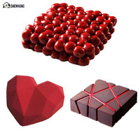 SHENHONG Pop 3PCS SET Cherry Diamond Heart 3D Cake Mold Art Silicone Mousse Silikonowe Formy Moule