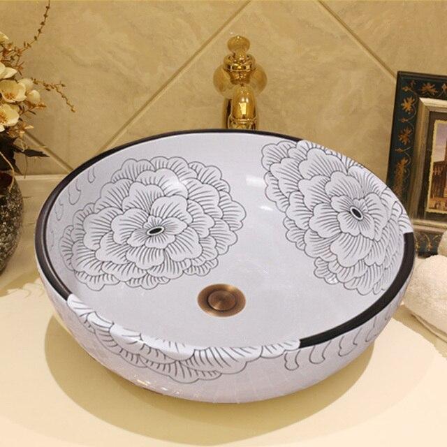 € 161.06 10% de réduction|Chinois À La Main Fleur Moderne Artistique Blanc  Navire Évier En Céramique Lavabo art bassin évier dans Lavabos de ...