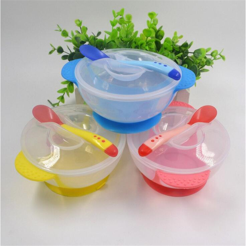 Baby PP Feeding Dinnerware Set Infant With Suction Cup Bowl And Temperature Sensing Spoon Set Kids Training Tableware