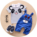 Boy Clothes Summer 2017 Striped Cotton Kids Clothes Boys Children Toddler Boys Clothing Set Cartoon Bear Suspender Outfit T546