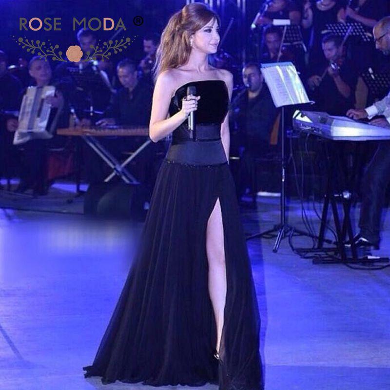 Rose Moda Black Floor Length   Prom     Dress   with High Slit Formal   Dress