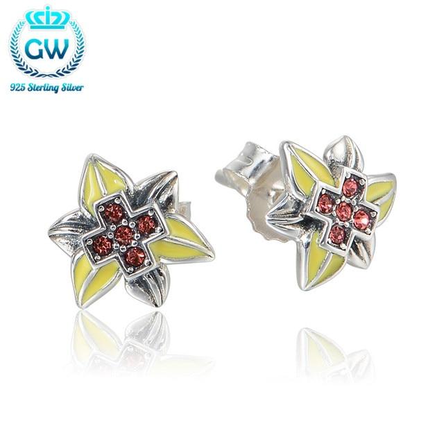 925 Sterling Silver Stud Earrings For Women Yellow Flower Earrings Wedding Party Jewelry Brand GW Jewellery Er1026