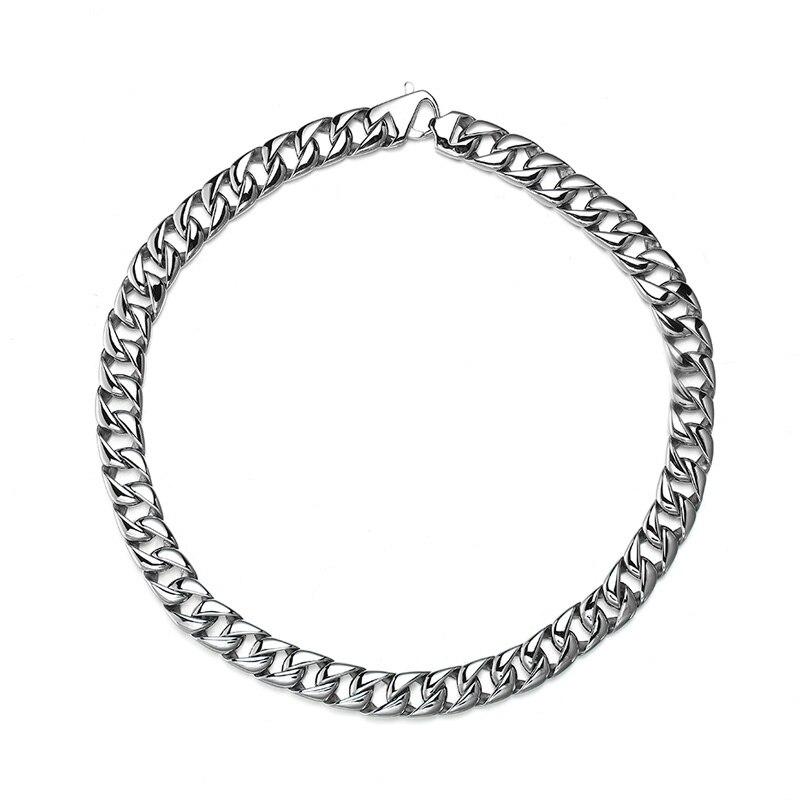 Hip Hop bijoux 316L acier inoxydable Long collier homard fermoir couleur argent mode charme lien chaîne cubaine pour hommes collier