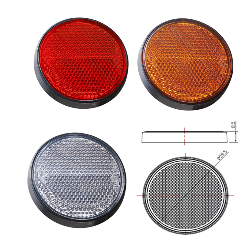 Image 5 - trailer truck lorry car accessories  2 pcs amber round  reflector strip for bus RV caravan camp bike towing camp  self adhesive-in Reflective Strips from Automobiles & Motorcycles