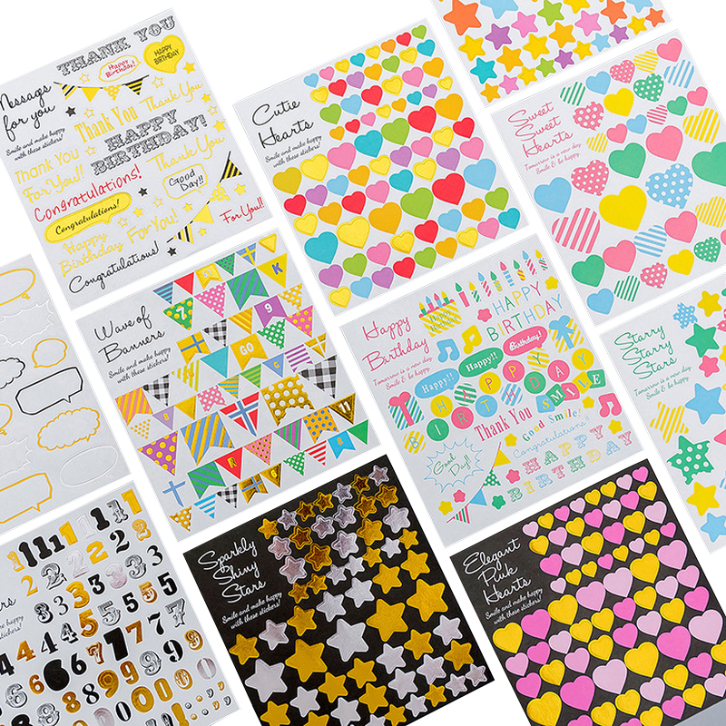 1 Sheet Kawaii Geometric Diary Stickers Decoration DIY Diary  Scrapbooking Label Child Toy Stickers Gift Stationery Supplies