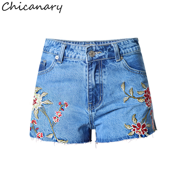 f677db2fec Chicanary Floral Embroidered Mom Shorts High Rise Ripped Flayed Hems Women  Side Slit Denim Shorts