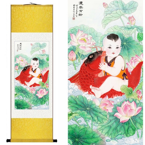 Chinese Silk watercolor flower Lotus red carp goldfish Lucky Baby ink feng shui canvas wall picture