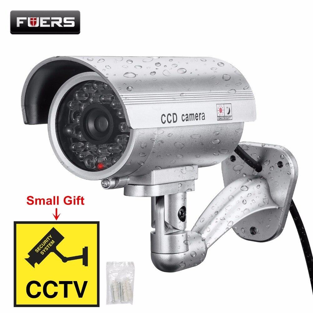 Fuers Faux Caméra Extérieure Étanche Factice CCTV Caméra Avec Clignotant LED Rouge Réaliste Look Bullet Intérieur Faux Caméra de Sécurité
