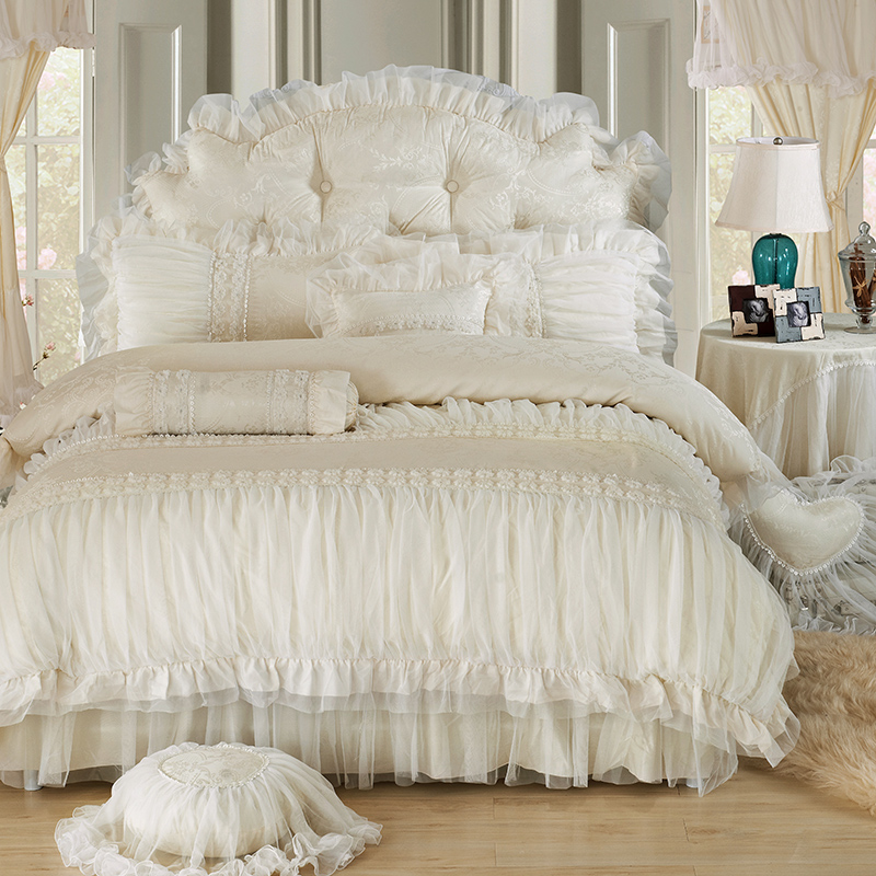 Cotton Jacquard White Pink Lace Princess Bedding Sets Full